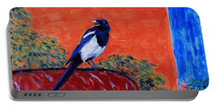 Magpie Singing At The Bath Portable Battery Charger by Xueling Zou