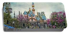 Main Street Sleeping Beauty Castle Disneyland Textured Sky Portable Battery Charger