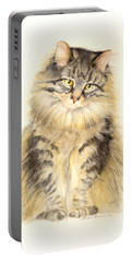 Portable Battery Charger featuring the painting Maine Coon Cat by Bonnie Rinier