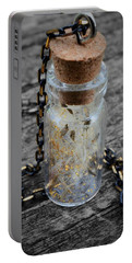 Make A Wish - Dandelion Seed In Glass Bottle With Gold Fairy Dust Necklace Portable Battery Charger