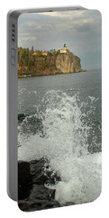Portable Battery Charger featuring the photograph Making A Splash At Split Rock Lighthouse  by James Peterson