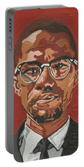 Portable Battery Charger featuring the painting Malcolm X by Rachel Natalie Rawlins