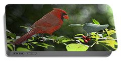 Male Cardinal On Dogwood Branch With Verse Portable Battery Charger by Debbie Portwood