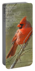 Male Cardinal On Twigs With Bible Verse Portable Battery Charger