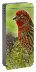 Portable Battery Charger featuring the photograph Male Finch In Hydrangesa by Debbie Portwood