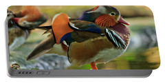 Portable Battery Charger featuring the photograph Male Mandarin Duck On A Rock by Eti Reid