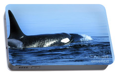 Portable Battery Charger featuring the photograph Male Orca Off The San Juan Islands Washington 1986 by California Views Mr Pat Hathaway Archives