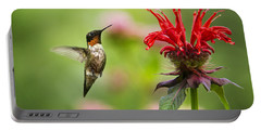 Male Ruby-throated Hummingbird Hovering Near Flowers Portable Battery Charger