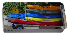 Portable Battery Charger featuring the digital art Malibu Kayaks by Gandz Photography