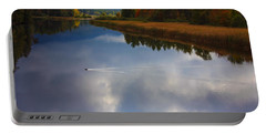 Portable Battery Charger featuring the photograph Mallard Duck On Lake In Adirondack Mountains In Autumn by Jerry Cowart