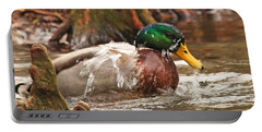 Portable Battery Charger featuring the photograph Mallard Duck Taking Bath by Luana K Perez