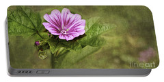 Mallow Hollyhock Portable Battery Charger by Lena Auxier