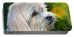 Portable Battery Charger featuring the painting Maltese by Bonnie Rinier