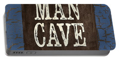 Man Cave Enter At Your Own Risk Portable Battery Charger by Debbie DeWitt