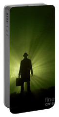 Portable Battery Charger featuring the photograph Man In Light Beams by Lee Avison