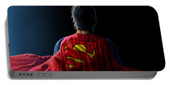 Portable Battery Charger featuring the digital art Man Of Steel - Superman by Anthony Mwangi