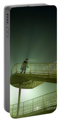 Portable Battery Charger featuring the photograph Man On Stairs With Case In Fog by Lee Avison
