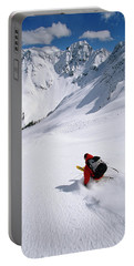 Man Skiing In Untracked Powder, Colorado Portable Battery Charger