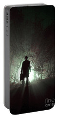 Portable Battery Charger featuring the photograph Man Waiting In Fog With Case by Lee Avison