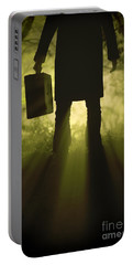 Portable Battery Charger featuring the photograph Man With Case In Fog by Lee Avison