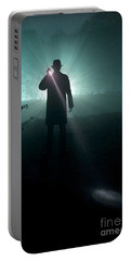Portable Battery Charger featuring the photograph Man With Flashlight  by Lee Avison