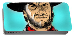 Portable Battery Charger featuring the mixed media Clint Eastwood by Salman Ravish