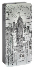 Portable Battery Charger featuring the drawing Manhattan by Janice Rae Pariza