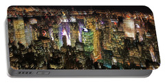 Portable Battery Charger featuring the photograph Manhattan Skyline Empire State Wobbles by Andy Prendy