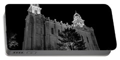 Manti Temple Black And White Portable Battery Charger by David Andersen