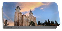 Manti Temple Morning Portable Battery Charger by David Andersen