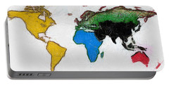 Map Digital Art World Portable Battery Charger by Georgi Dimitrov