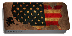Map Of America United States Usa With Flag Art On Distressed Worn Canvas Portable Battery Charger