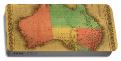 Map Of Australia Vintage 1855 On Worn Canvas Portable Battery Charger