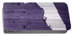 Map Of Florida State Outline White Distressed Paint On Reclaimed Wood Planks Portable Battery Charger by Design Turnpike
