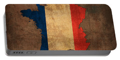 Map Of France With Flag Art On Distressed Worn Canvas Portable Battery Charger