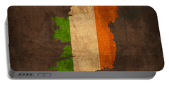 Map Of Ireland With Flag Art On Distressed Worn Canvas Portable Battery Charger