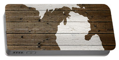 Map Of Michigan State Outline White Distressed Paint On Reclaimed Wood Planks Portable Battery Charger by Design Turnpike