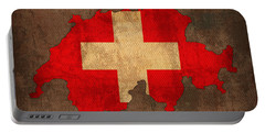 Map Of Switzerland With Flag Art On Distressed Worn Canvas Portable Battery Charger