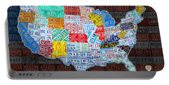 Map Of The United States In Vintage License Plates On American Flag Portable Battery Charger