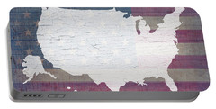 Map Of United States In White Old Paint On American Flag Barn Wood Portable Battery Charger