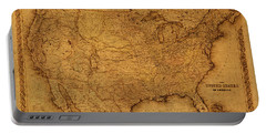 Map Of United States Of America Vintage Schematic Cartography Circa 1855 On Worn Parchment  Portable Battery Charger