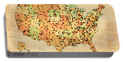 Map Of United States Of America With Crystallized Counties On Worn Parchment Portable Battery Charger