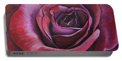 Portable Battery Charger featuring the painting March Rose by Thu Nguyen