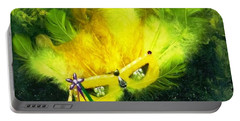 Portable Battery Charger featuring the painting Mardi Gras On Green by Alys Caviness-Gober