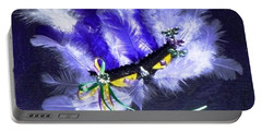 Portable Battery Charger featuring the painting Mardi Gras On Purple by Alys Caviness-Gober