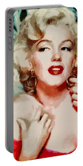 Marilyn Monroe In Red Dress Portable Battery Charger by Georgi Dimitrov