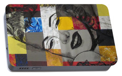 Portable Battery Charger featuring the painting Marilyn In Abstract by Malinda  Prudhomme