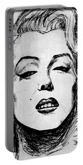 Portable Battery Charger featuring the painting Marilyn Monroe by Salman Ravish