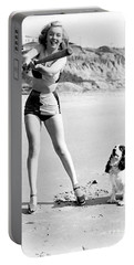 Marilyn Playing Baseball At The Beach Portable Battery Charger