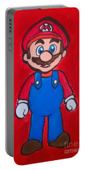 Portable Battery Charger featuring the painting Mario by Marisela Mungia